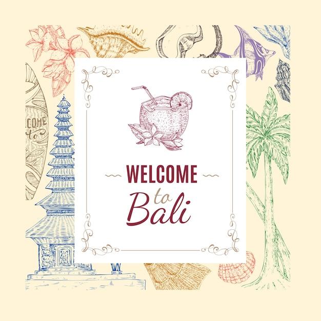 Hand gezeichneter balinesischer hintergrund Kostenlosen Vektoren