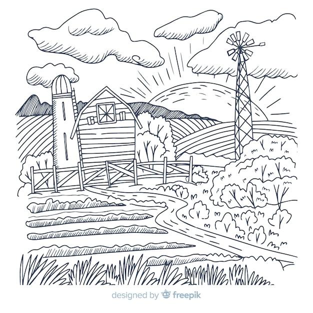 Hand gezeichneter bauernhoflandschaftshintergrund Kostenlosen Vektoren