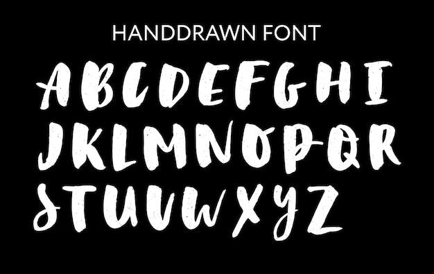 Hand gezeichneter beschriftungssatz. vektor-alphabet. benutzerdefinierte typografie für designs Premium Vektoren