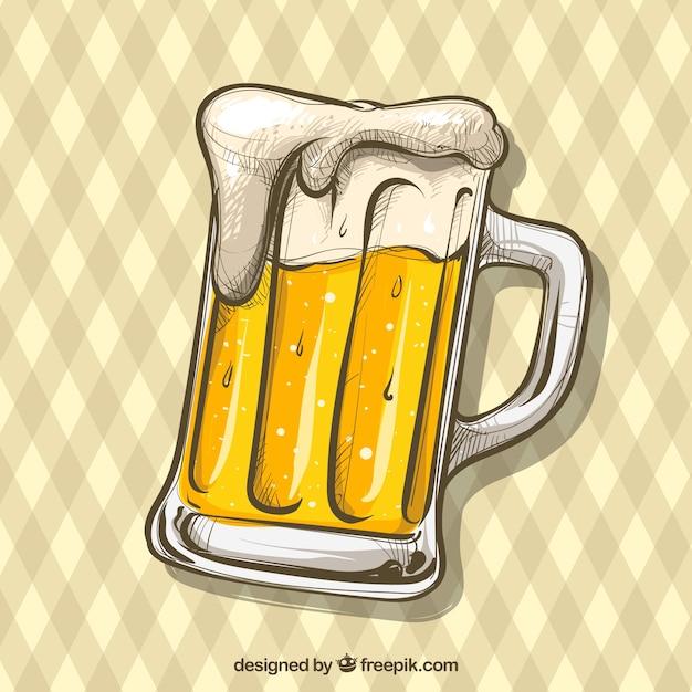 Hand gezeichneter bierhintergrund Kostenlosen Vektoren