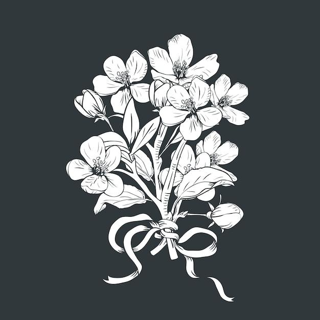 Hand gezeichneter botanischer blütenniederlassungsblumenstrauß auf schwarzem hintergrund. Premium Vektoren