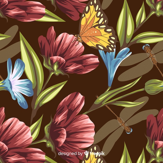 Hand gezeichneter botanischer hintergrund der weinlese Kostenlosen Vektoren