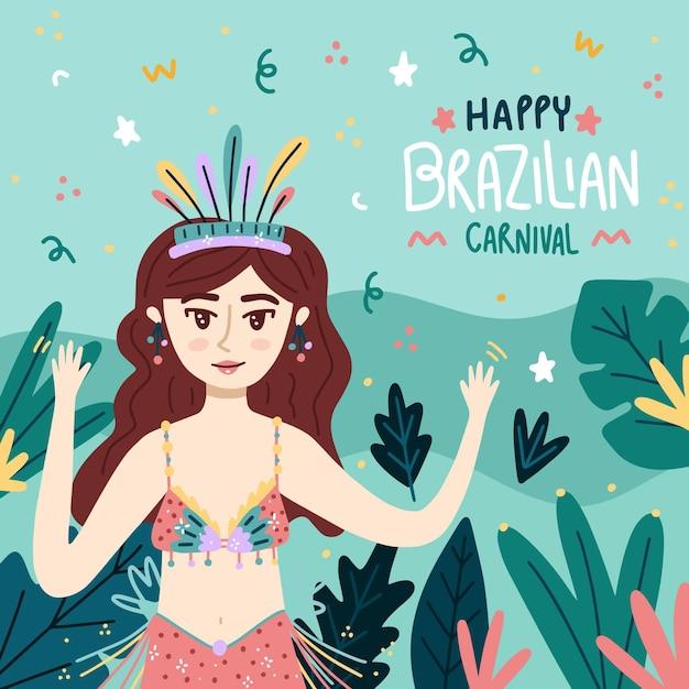 Hand gezeichneter brasilianischer karneval Premium Vektoren