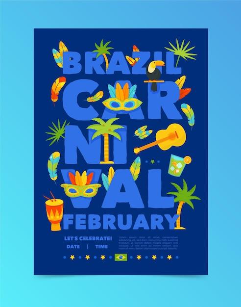 Hand gezeichneter brasilianischer karnevalsflieger Kostenlosen Vektoren
