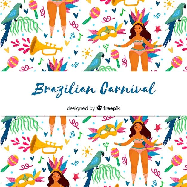 Hand gezeichneter brasilianischer karnevalshintergrund Kostenlosen Vektoren