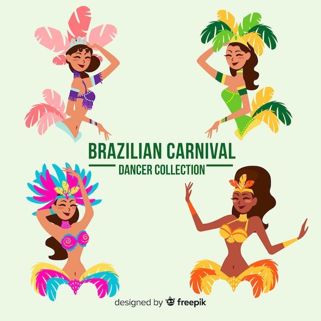 Hand gezeichneter brasilianischer karnevalstänzersatz Kostenlosen Vektoren