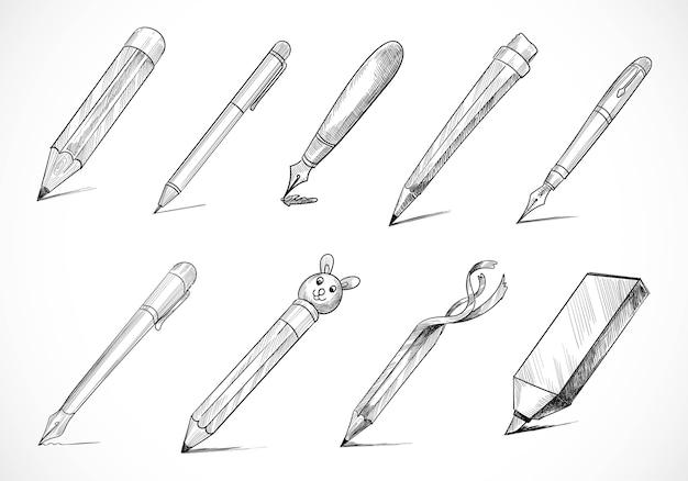 Hand gezeichneter briefpapierstiftskizzen-satzentwurf Kostenlosen Vektoren