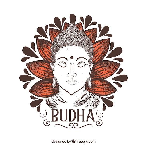 Hand gezeichneter budha mit eleganter art Kostenlosen Vektoren