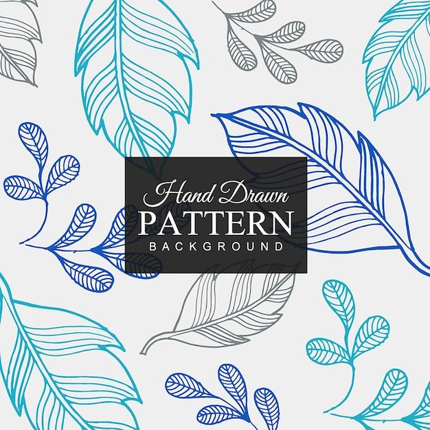 Hand gezeichneter bunter Blatt-Muster-Hintergrund Kostenlose Vektoren