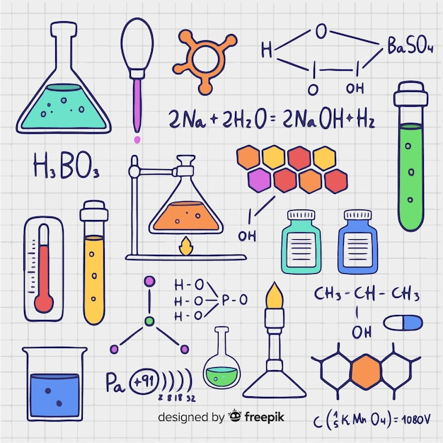 Hand gezeichneter chemiehintergrund Kostenlosen Vektoren