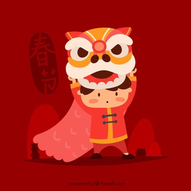 Hand gezeichneter chinesischer Hintergrund des neuen Jahres Kostenlose Vektoren