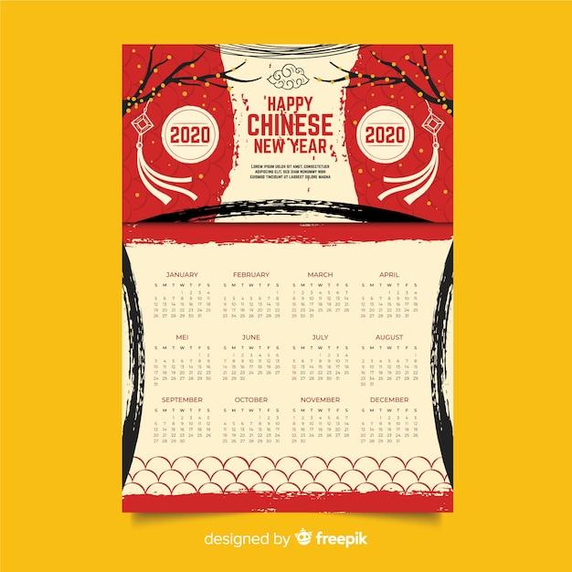 Hand gezeichneter chinesischer kalender des neuen jahres Kostenlosen Vektoren
