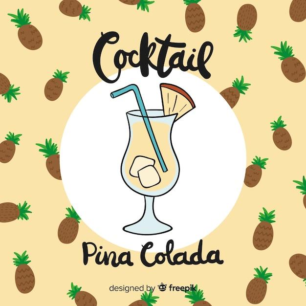 Hand gezeichneter cocktailhintergrund Kostenlosen Vektoren