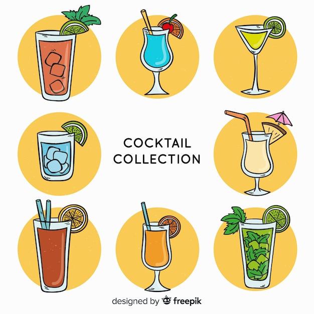 Hand gezeichneter cocktailsatz Kostenlosen Vektoren
