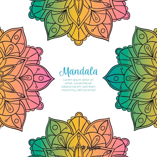 Hand gezeichneter dekorativer mandalahintergrund Kostenlosen Vektoren