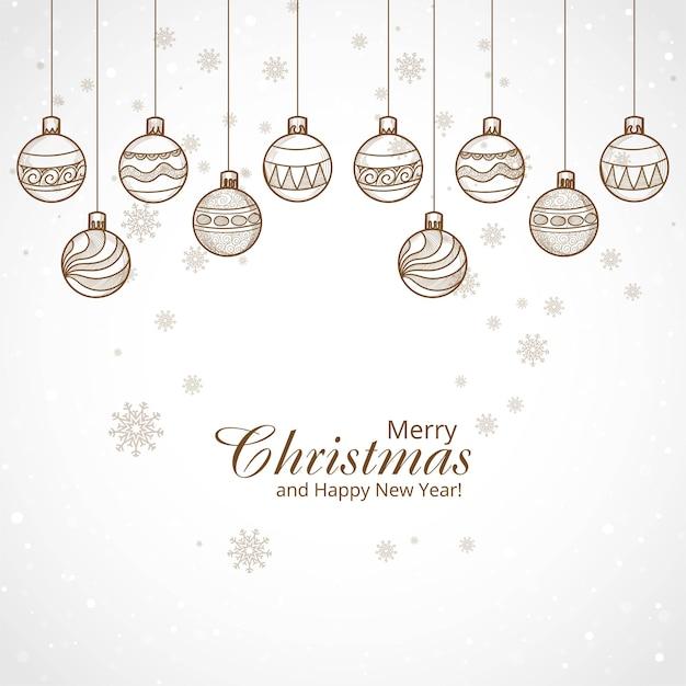 Hand gezeichneter dekorativer weihnachtskugelhintergrund Kostenlosen Vektoren