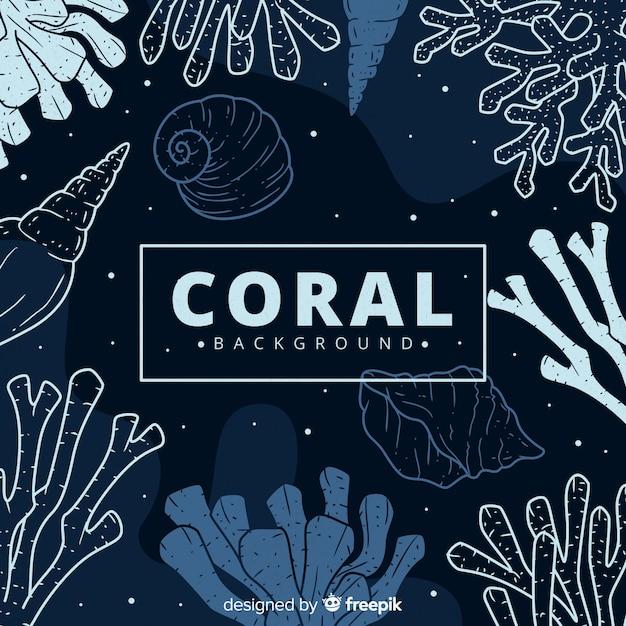 Hand gezeichneter dunkler korallenroter hintergrund Kostenlosen Vektoren