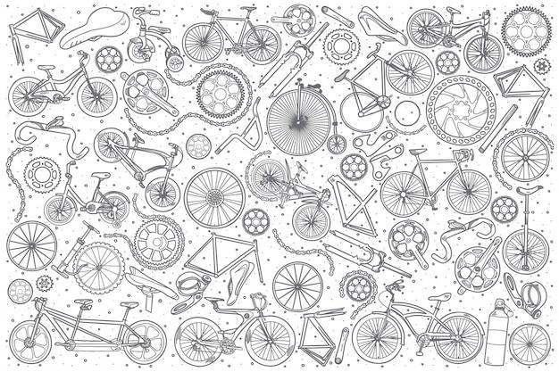 Hand gezeichneter fahrradshop-satz Premium Vektoren