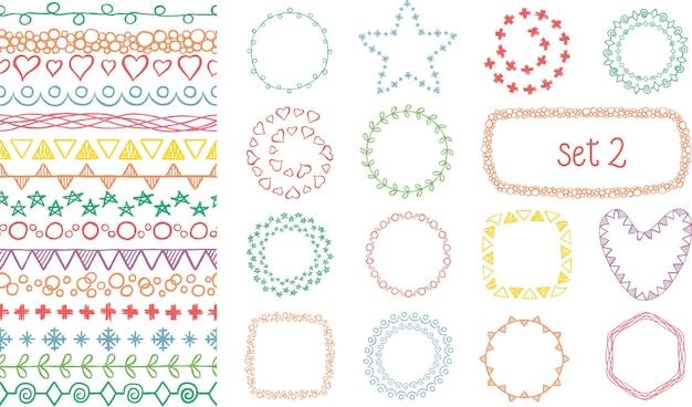 Hand gezeichneter farbiger dekorativer bürstensatz. Premium Vektoren