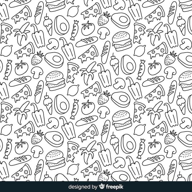 Hand gezeichneter farbloser obst- und gemüsehintergrund Kostenlosen Vektoren