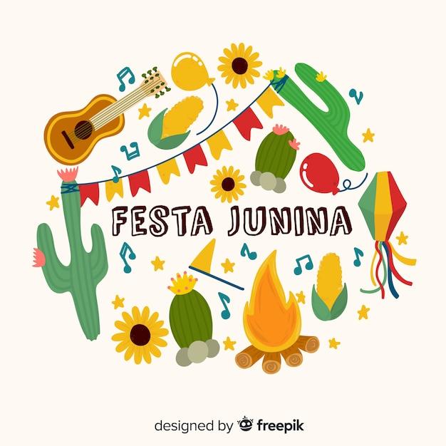 Hand gezeichneter festa junina hintergrund Kostenlosen Vektoren