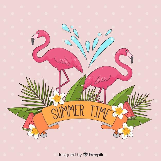Hand gezeichneter flamingohintergrund Kostenlosen Vektoren