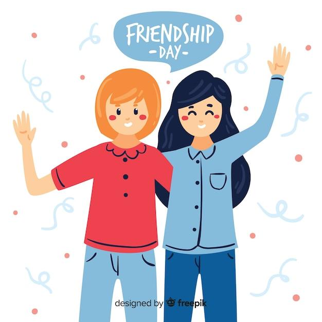 Hand gezeichneter freundschaftstageshintergrund Kostenlosen Vektoren