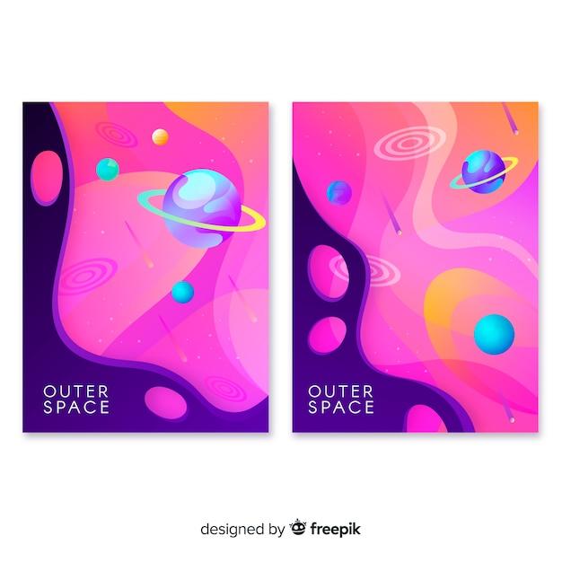 Hand gezeichneter galaxiefahnensatz Kostenlosen Vektoren