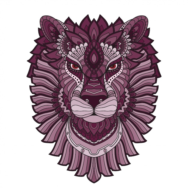 Hand gezeichneter gekritzel zentangle lion illustration-vektor. Premium Vektoren