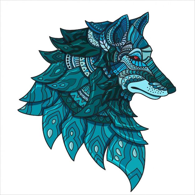 Hand gezeichneter gekritzel zentangle wolf illustrationsvektor. Premium Vektoren