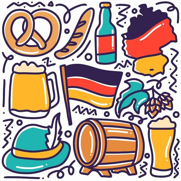 Hand gezeichneter gekritzeldeutschlandfeiertag mit ikonen und gestaltungselementen Premium Vektoren