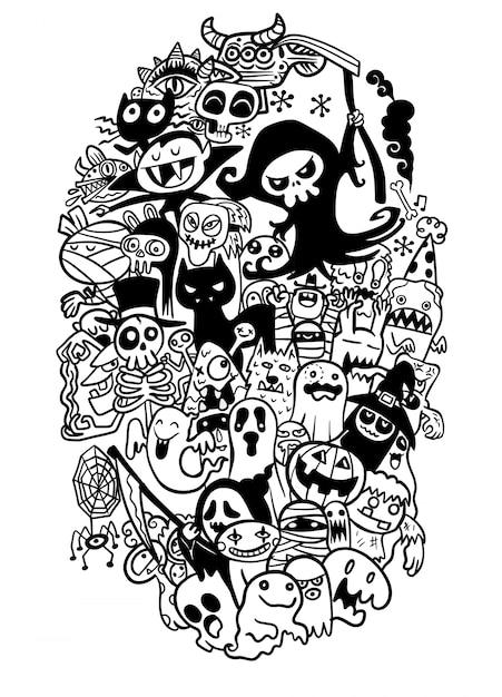Hand gezeichneter gekritzelkarikatursatz gegenstände und symbole auf dem halloween-thema Premium Vektoren