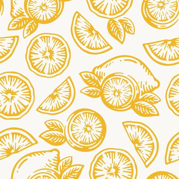 Hand gezeichneter gekritzelweinlese von zitronenfrüchten, orange oder mandarinenerntevektormuster nahtloser hintergrund. Premium Vektoren