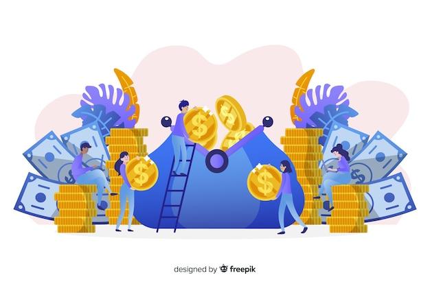 Hand gezeichneter geldsparender konzepthintergrund Kostenlosen Vektoren