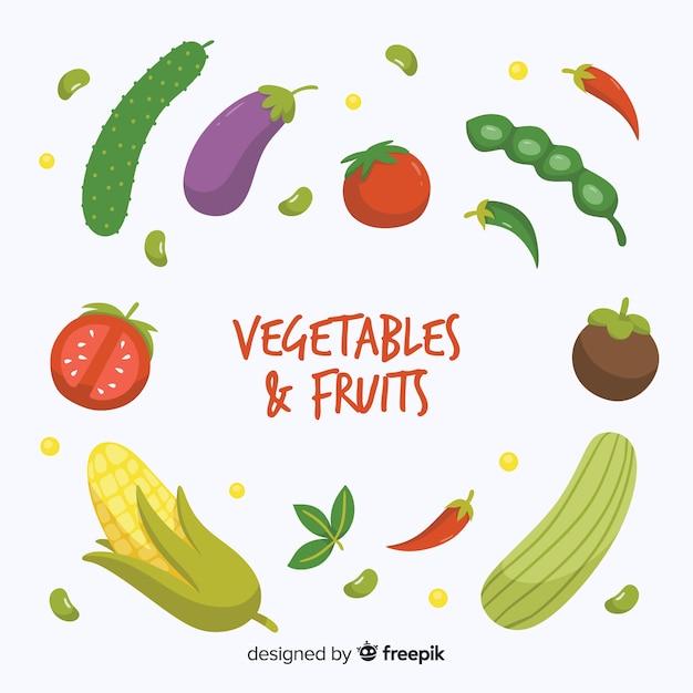Hand gezeichneter gemüse- und fruchthintergrund Kostenlosen Vektoren