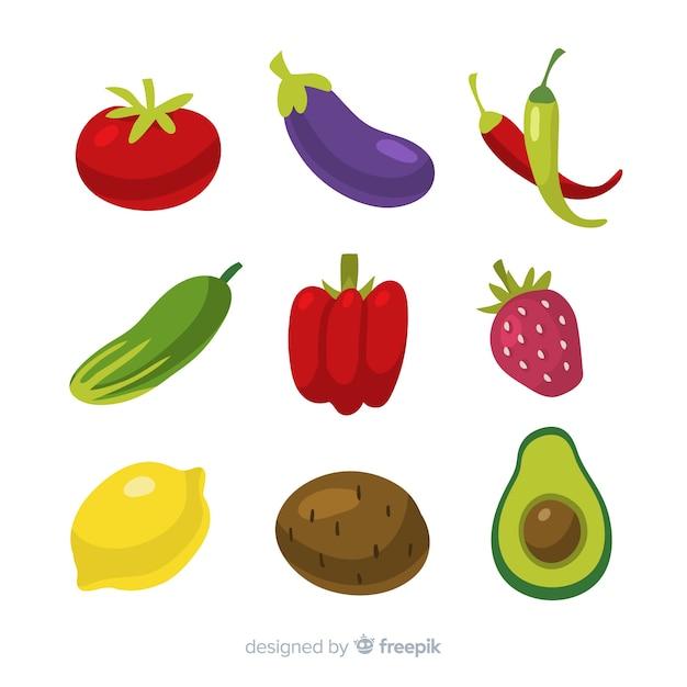Hand gezeichneter gemüse- und fruchtsatz Kostenlosen Vektoren