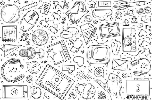 Hand gezeichneter gesetzter gekritzelhintergrund des social media Premium Vektoren