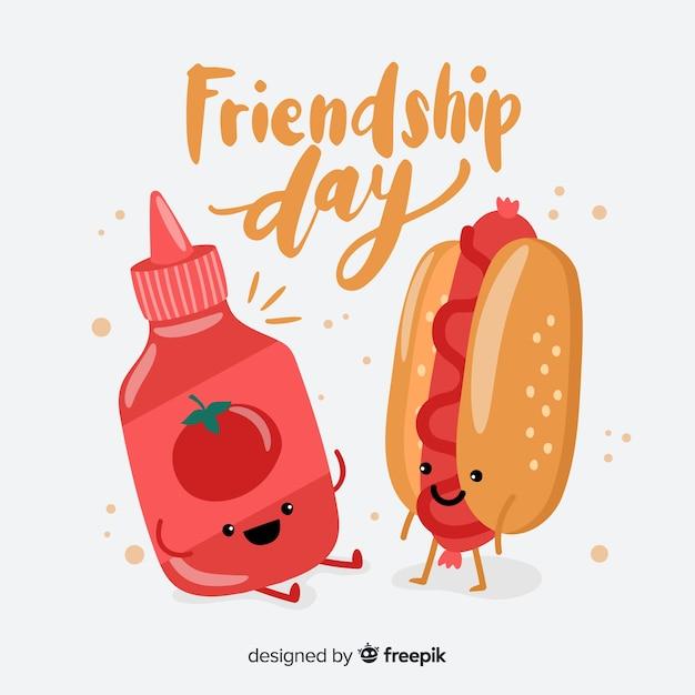 Hand gezeichneter glücklicher freundschaftstag Kostenlosen Vektoren