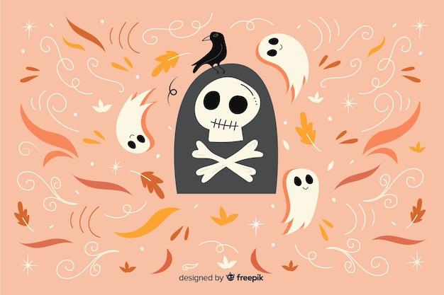 Hand gezeichneter glücklicher halloween-hintergrund Kostenlosen Vektoren