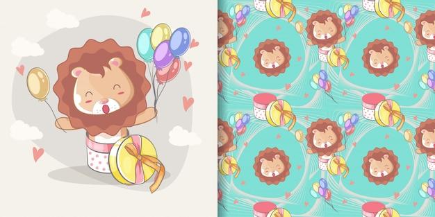 Hand gezeichneter glücklicher netter löwe mit ballonen und mustersatz Premium Vektoren