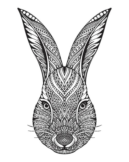 Hand gezeichneter grafischer verzierter kopf des kaninchens mit ethnischem blumengekritzelmuster. illustration für malbuch, tätowierung, druck auf t-shirt, tasche. auf einem weißen hintergrund. Premium Vektoren