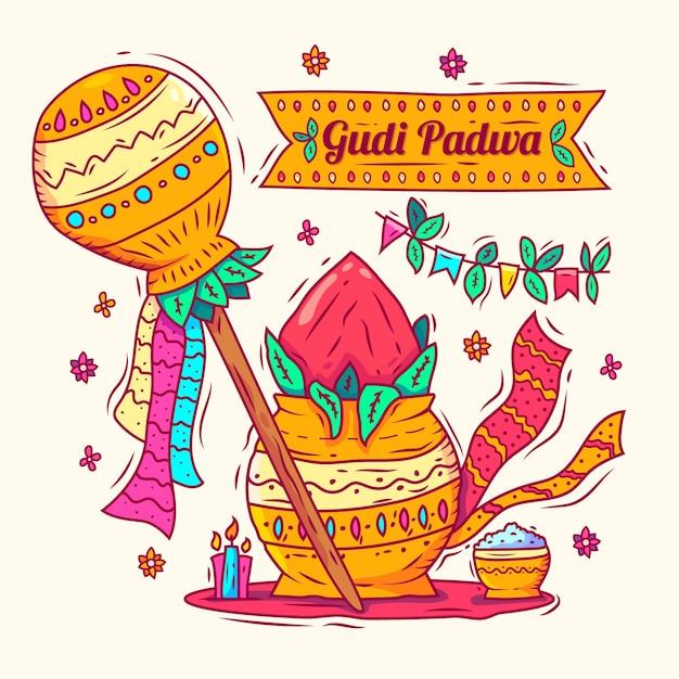 Hand gezeichneter gudi padwa hintergrund Kostenlosen Vektoren