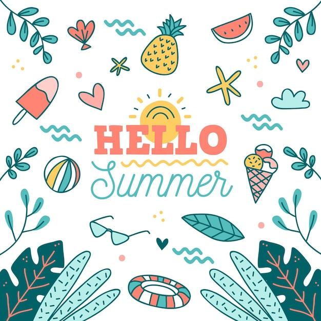 Hand gezeichneter hallo sommer mit obst und eis Kostenlosen Vektoren