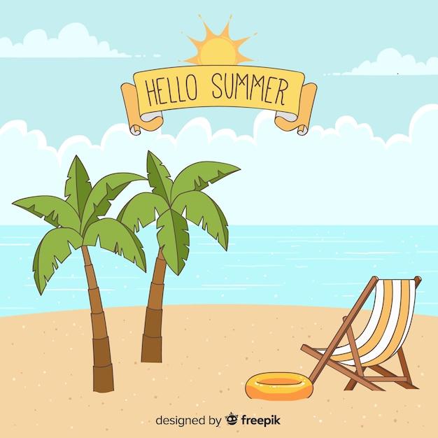 Hand gezeichneter hallo sommerhintergrund Kostenlosen Vektoren