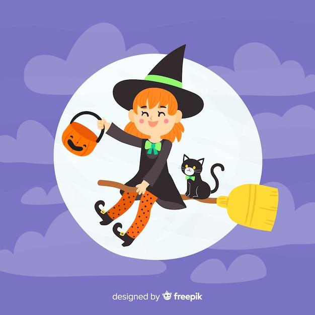 Hand gezeichneter halloween-hexenhintergrund Kostenlosen Vektoren