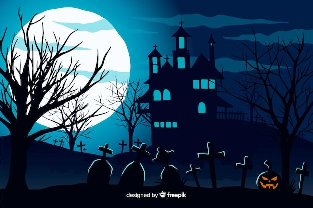 Hand gezeichneter halloween-hintergrund mit geisterhaus Kostenlosen Vektoren