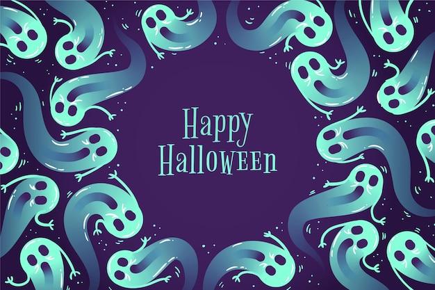 Hand gezeichneter halloween-hintergrund mit geistern Kostenlosen Vektoren