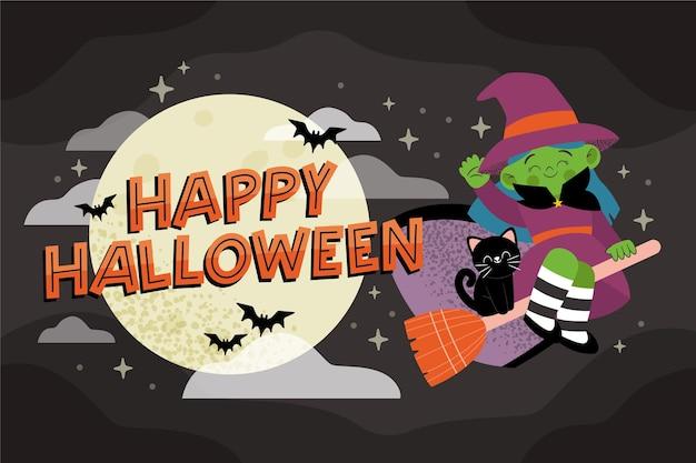 Hand gezeichneter halloween-hintergrund mit hexe Kostenlosen Vektoren