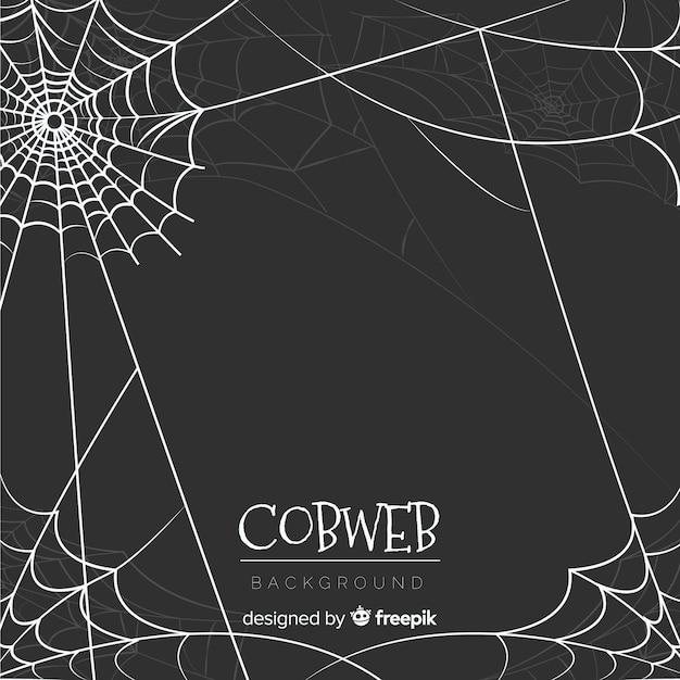 Hand gezeichneter halloween-spinnennetzhintergrund Kostenlosen Vektoren