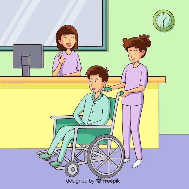 Hand gezeichneter helfender patient der krankenschwester Kostenlosen Vektoren